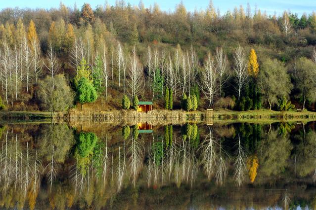 jezero, uprostřed naproti bouda dřevěná