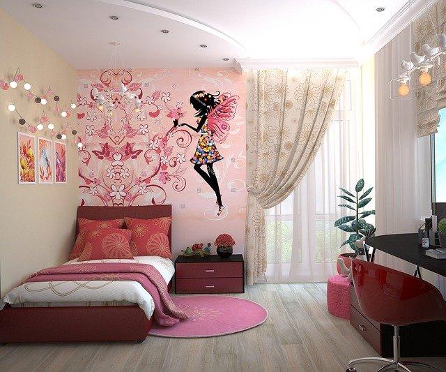 Růžový dětský pokojíček